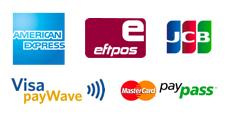 Logos of payment methods: American Express, Eftpos, JCB, Visa payWave, MasterCard, PayPass